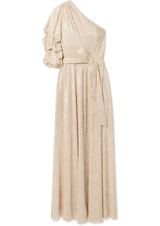 Alice + Olivia Jeanie metallic plissé-jersey midi dress