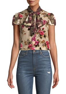 Alice + Olivia Jeannie Bow-Collar Cap-Sleeve Button-Front Blouse