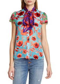 Alice + Olivia Jeannie Bow Neck Floral Burnout Top