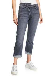 ALICE + OLIVIA JEANS Amazing Asymmetrical Slim Straight Jeans
