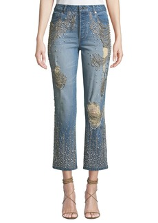 ALICE + OLIVIA JEANS Amazing Embellished Ripped High-Rise Boyfriend Jeans
