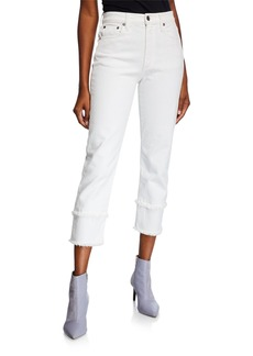 ALICE + OLIVIA JEANS Amazing High-Rise Jeans with Double Hem