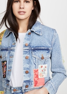 ALICE + OLIVIA JEANS Crop Boxy Jacket with Patchwork