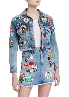 ALICE + OLIVIA JEANS Cropped Boyfriend Jacket with Patches