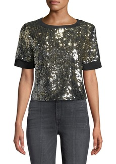 ALICE + OLIVIA JEANS Danica Sequin Crewneck Crop Top