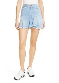 Alice + Olivia Jeans Flounce Ruffle Denim Miniskirt