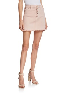 ALICE + OLIVIA JEANS Good High-Rise Exposed Button Skirt