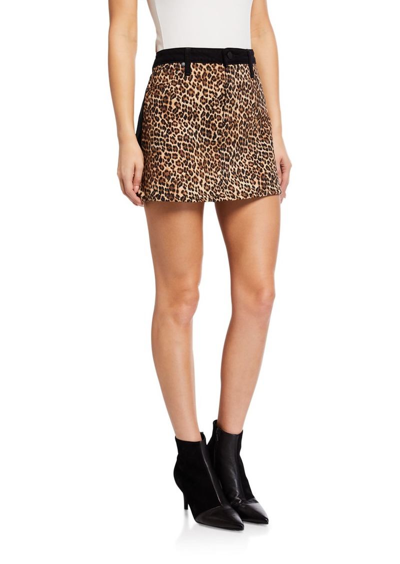 ALICE + OLIVIA JEANS Good High-Rise Mini Skirt w/ Leopard-Print Front