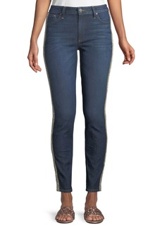 ALICE + OLIVIA JEANS Good Mid-Rise Skinny Jeans with Crystal Stripes