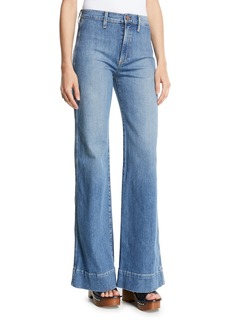ALICE + OLIVIA JEANS Gorgeous High-Rise Wide-Leg Jeans w/ Rainbow Pockets