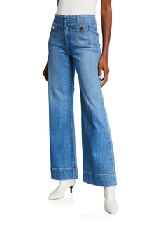 ALICE + OLIVIA JEANS Gorgeous Wide-Leg Jeans with Patch Pockets