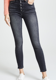 ALICE + OLIVIA JEANS High Rise Exposed Button Skinny Jeans