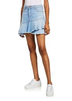 ALICE + OLIVIA JEANS Mini Flounce Ruffle Denim Skirt