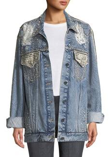 ALICE + OLIVIA JEANS Oversized Embellished Denim Jacket