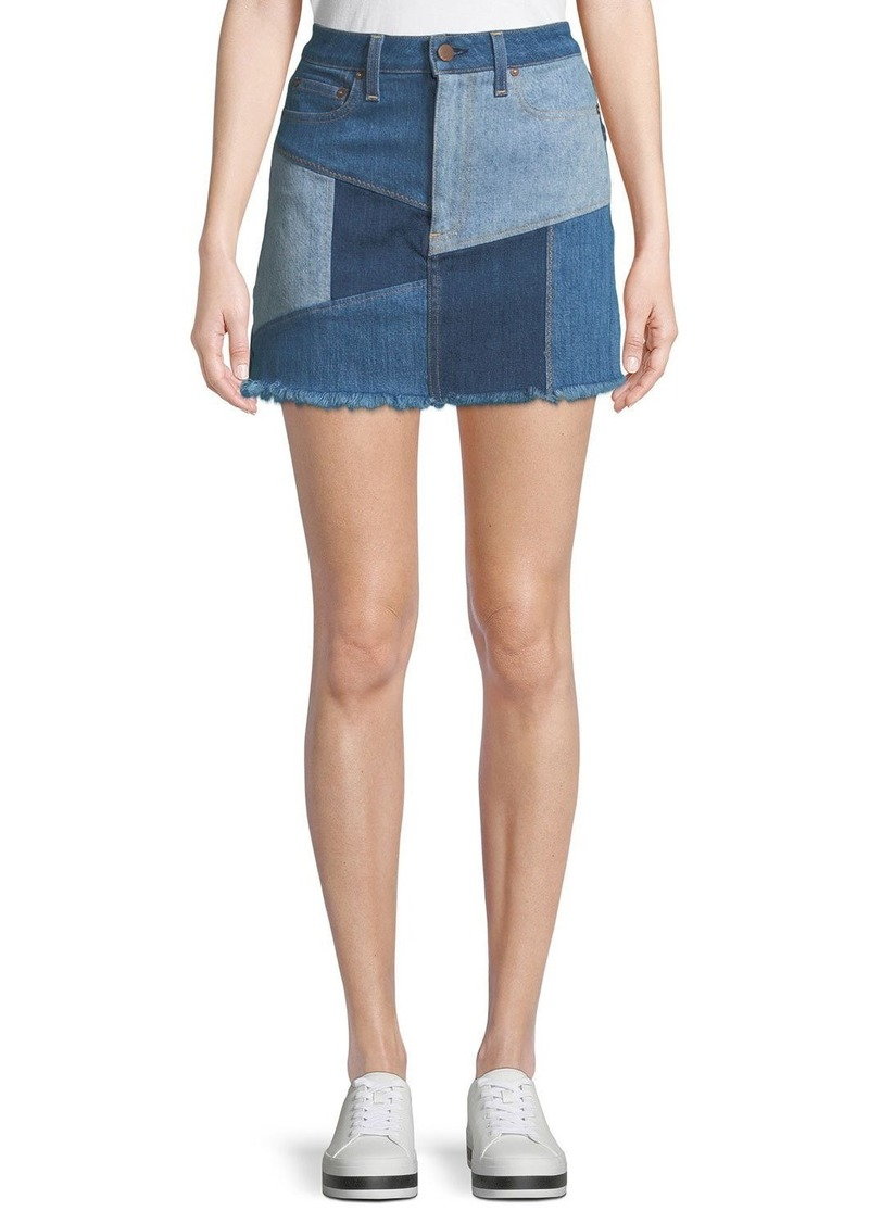 ALICE + OLIVIA JEANS Patchwork Denim Mini Skirt