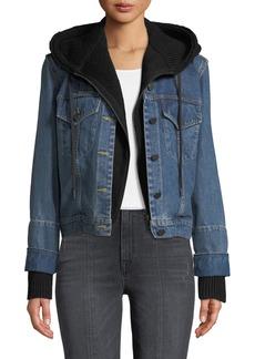 ALICE + OLIVIA JEANS Rumor Boxy Hooded Denim Jacket