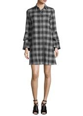 Alice + Olivia Jem Button-Front Long-Sleeve Plaid Shirtdress