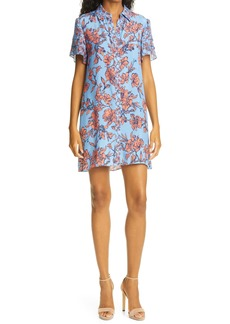 Alice + Olivia Jem Sketch Floral Print Flutter Sleeve Shirtdress