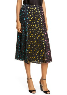 Alice + Olivia Jenessa Abstract Leopard Print Burnout Silk Blend Skirt
