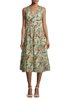Alice + Olivia Jenn Sleeveless Floral Embroidered Dress