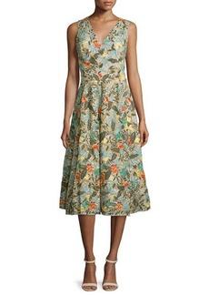 Alice + Olivia Jenn Sleeveless Floral Embroidered Dress
