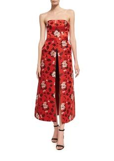 Alice + Olivia Jeri Strapless Floral-Print Romper W/ Overskirt