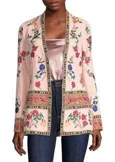 Jerri Embroidered Open Front Blazer