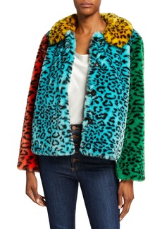 Alice + Olivia Jerrie Patchwork Faux-Fur Coat
