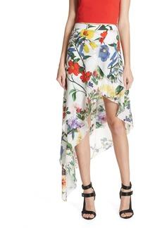 Alice + Olivia Joeann Asymmetrical Floral Silk Skirt