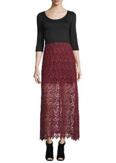 Alice + Olivia Jojo 3/4-Sleeve Lace-Skirt Dress