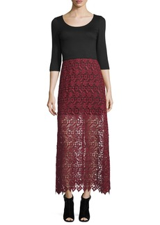 Alice + Olivia Jojo 3/4-Sleeve Lace-Skirt Dress