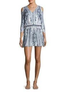 Alice + Olivia Jolene Cold-Shoulder Smocked-Waist Dress