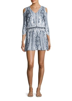 Alice + Olivia Jolene Cold-Shoulder Smocked-Waist Dress