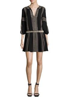 Alice + Olivia Jolene Embroidered Blouson Dress