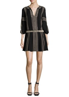 Alice + Olivia Jolene Embroidered Blouson Dress