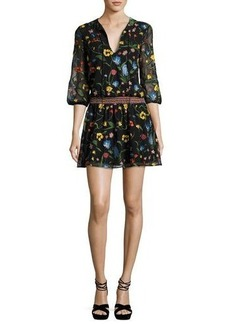 Alice + Olivia Jolene Split-Neck Smocked-Waist Mini Dress