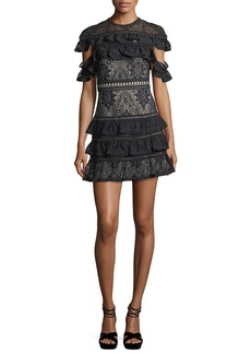 Alice + Olivia Jolie Tiered Ruffled Lace Mini Dress