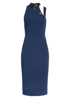 Alice + Olivia Jona Leather Trim Sheath Dress