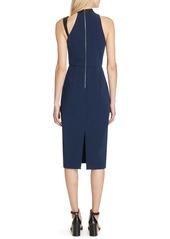 Alice + Olivia Jona Leather Trim Sheath Dress