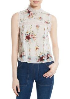 Alice + Olivia Jonie Lace Trim Floral Silk Blouse