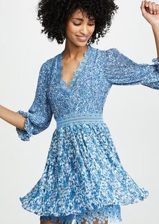 alice + olivia Jonna Pleated Deep V Mini Dress
