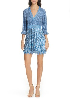 Alice + Olivia Jonna Plissé V-Neck Dress