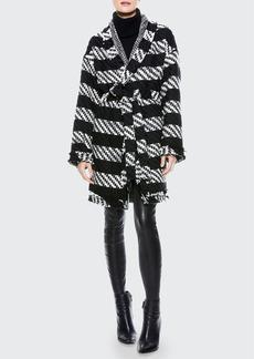 Alice + Olivia Jorgie Reversible Wrap Coat with Belt