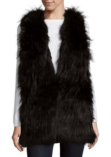 Alice + Olivia Joss Cowlneck Rabbit & Silver Fox Fur Top