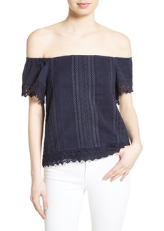 Alice + Olivia Jules Embroidered Cotton Off the Shoulder Top