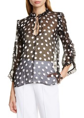 Alice + Olivia Julius Ruffle Sleeve Polka Dot Silk Blend Blouse
