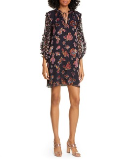 Alice + Olivia Julius Ruffle Sleeve Silk Blend Dress