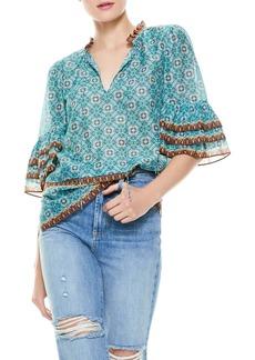 Alice + Olivia Julius Tiered Sleeve Cotton & Silk Blouse
