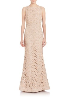 Alice + Olivia Kacie Embroidered Open Back Gown