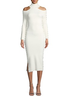 Alice + Olivia Kahlo Studded Shoulder-Cutout Turtleneck Midi Tank Dress